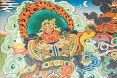 Goldenes Tempelwandbild Buddist stockbild