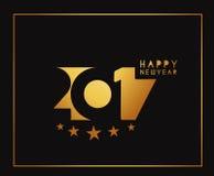 Goldenes Text-Design des guten Rutsch ins Neue Jahr-2017 Lizenzfreie Stockfotos