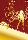 Goldenes Turntabe Musik-Disco-Party-Flugblatt Stock Abbildung