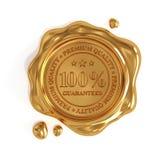 Goldenes Wachssiegel 100-Prozent-erstklassiger Qualitätsstempel lokalisiert Stockfotografie