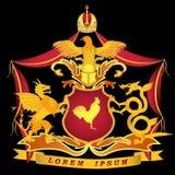 Goldenes Wappen auf einem schwarzen Hintergrund mit dem Bild des Widerstands Stockfoto