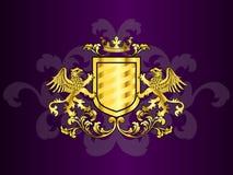 Goldenes Wappen mit Greifen Lizenzfreie Stockfotografie