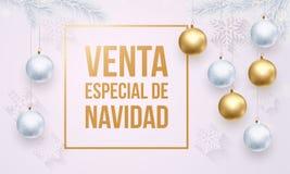 Goldenes weißes Promoplakat Weihnachtsverkauf Spanish Venta de Navidad Stockbilder