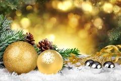 Goldenes Weihnachten Stockbild