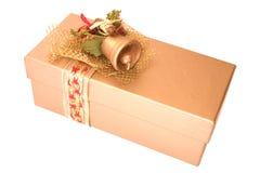 Goldenes Weihnachtsgeschenk Stockfotos