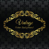Goldenes Weinlesefeld auf schwarzem nahtlosem Muster Stockfotografie