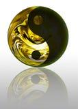 Goldenes Yin Yang Symbol Stockfotografie