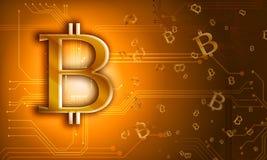 Goldenes Zeichen bitcoin Münze der internationalen Schlüsselwährung auf elektrischem Stockfotografie