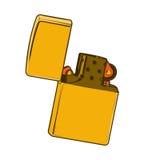 Goldenes zippo Feuerzeug lokalisiert auf einem weißen Hintergrund Farbliniekunst Retro- Auslegung Lizenzfreie Stockfotos