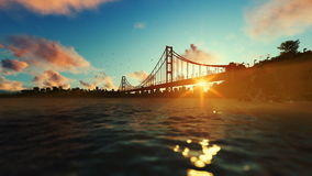 Goldengate Bridge against beautiful sunrise stock footage