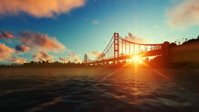 Goldengate bridge against beautiful sunrise, travel cam stock video