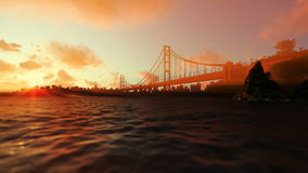 Goldengate Bridge against beautiful sunset stock video