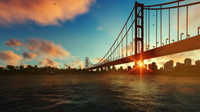 Goldengate Bridge fishing boat zoom out, beautiful sunrise stock video footage