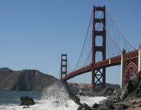 GoldenGate. Goldent Gate Bridge in the evening hours as seen from the baker beach Stock Photo