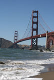 GoldenGate. Goldent Gate Bridge in the evening hours as seen from the baker beach Stock Photos