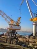 Goldenhorn Halic Shipyard Winches Istanbul. Goldenhorn Shipyard Big Winches & Boats and City view Istanbul Stock Photography