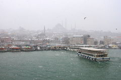 Goldenhorn in Winter. First snow of the season on January 31, 2012 in Istanbul. A giant snowstorm froze daily life as well as the streets all around the city of Royalty Free Stock Photo