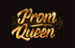Goldenlogotype copy 28. Prom queen gold word text with sparkle and glitter background suitable for card, brochure or typography logo design Stock Photo