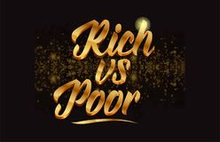 Goldenlogotype copy 13. Rich vs poor gold word text with sparkle and glitter background suitable for card, brochure or typography logo design stock illustration