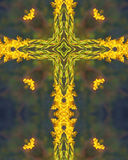 Goldenrod cross. Kaleidoscope cross from photo of autumn goldenrod, Homestead National Monument of America, Beatrice, Nebraska Stock Photos