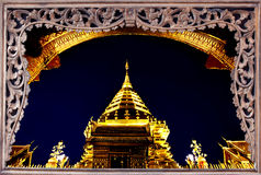 Goldent pagoda on top of Suthap Mountain. Royalty Free Stock Photos