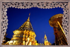 Goldent pagoda on top of Suthap Mountain. Stock Photos