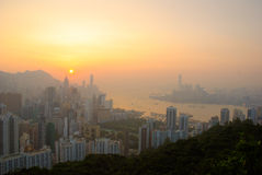 Golder sunset over victoria harbour Royalty Free Stock Photos