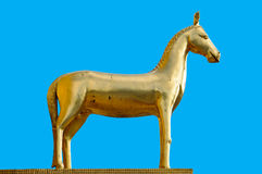 Goldern Hourse Statue. With blue sky royalty free stock image