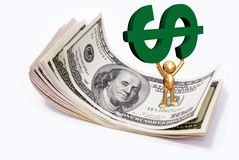 Goldern man and us dollars Stock Photo