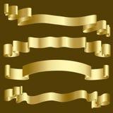 Goldfarbbänder und -fahnen Lizenzfreie Stockfotos