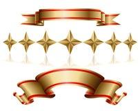 Goldfarbband und -sterne Lizenzfreie Stockbilder
