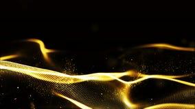 Goldfarbwellenpartikel Digital fließen abstrakte Hintergrund stockfoto