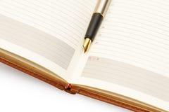 Goldfeder auf Tagebuch Stockfotos