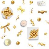 Goldfeiertage und Luxusgegenstand-nahtloses Muster stock abbildung