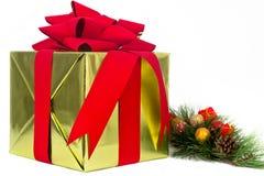 Goldfeiertags-Geschenk mit Kiefer-Ast Lizenzfreie Stockfotografie