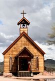 Goldfield Church. Rural wooden church building with cross and steeple royalty free stock photo