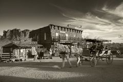 GOLDFIELD GHOST TOWN JANUARY 26th: People take a horse cart ride in Gold Feild Ghost town like old days Royalty Free Stock Photography