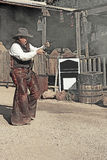 GOLDFIELD GHOST TOWN JANUARY 26th:A Person displayes gun fignt Stock Images
