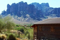 Goldfield Ghost Town and Mine. Superstition Mountains at Goldfield Ghost Town and Mine in Goldfield, Arizona stock image