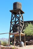 Goldfield Ghost Town and Mine. Water tower at Goldfield Ghost Town and Mine in Goldfield, Arizona royalty free stock images