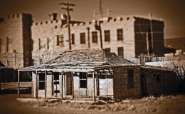 Goldfield Ghost Town ( tilt- Shift Sepia ). The Goldfield Ghost Town is located in Navada Royalty Free Stock Image