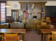 Goldfield, Nevada. Esmeralda County courthouse. Courtroom in the Esmeralda County courthouse, Goldfield, Nevada stock images