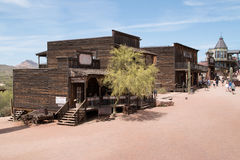 Goldfield Old Western Mining Ghost Town. Crooked old wild west buildings of Goldfield, Arizona Stock Image