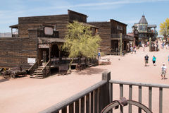 Goldfield Old Western Mining Ghost Town. Crooked old wild west buildings of Goldfield, Arizona Stock Photography