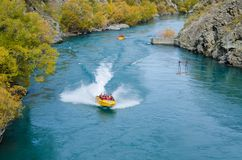 Goldfields jet ride on the Kawarau River to Goldfields Mining Centre in Kawarau Gorge,south island of New Zealand. Royalty Free Stock Image