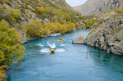 Goldfields jet ride on the Kawarau River to Goldfields Mining Centre in Kawarau Gorge,south island of New Zealand. Royalty Free Stock Images