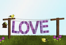 Goldfinches, Birdhouse and Love on Clothesline Stock Photo