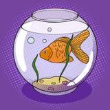 Goldfisch im fishbowl Pop-Arten-Artvektor Stockbild
