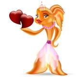 Goldfisch und rotes Herz Lizenzfreies Stockfoto