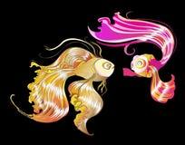 Goldfische, die das Liebhaberdesign küssen Stockbild